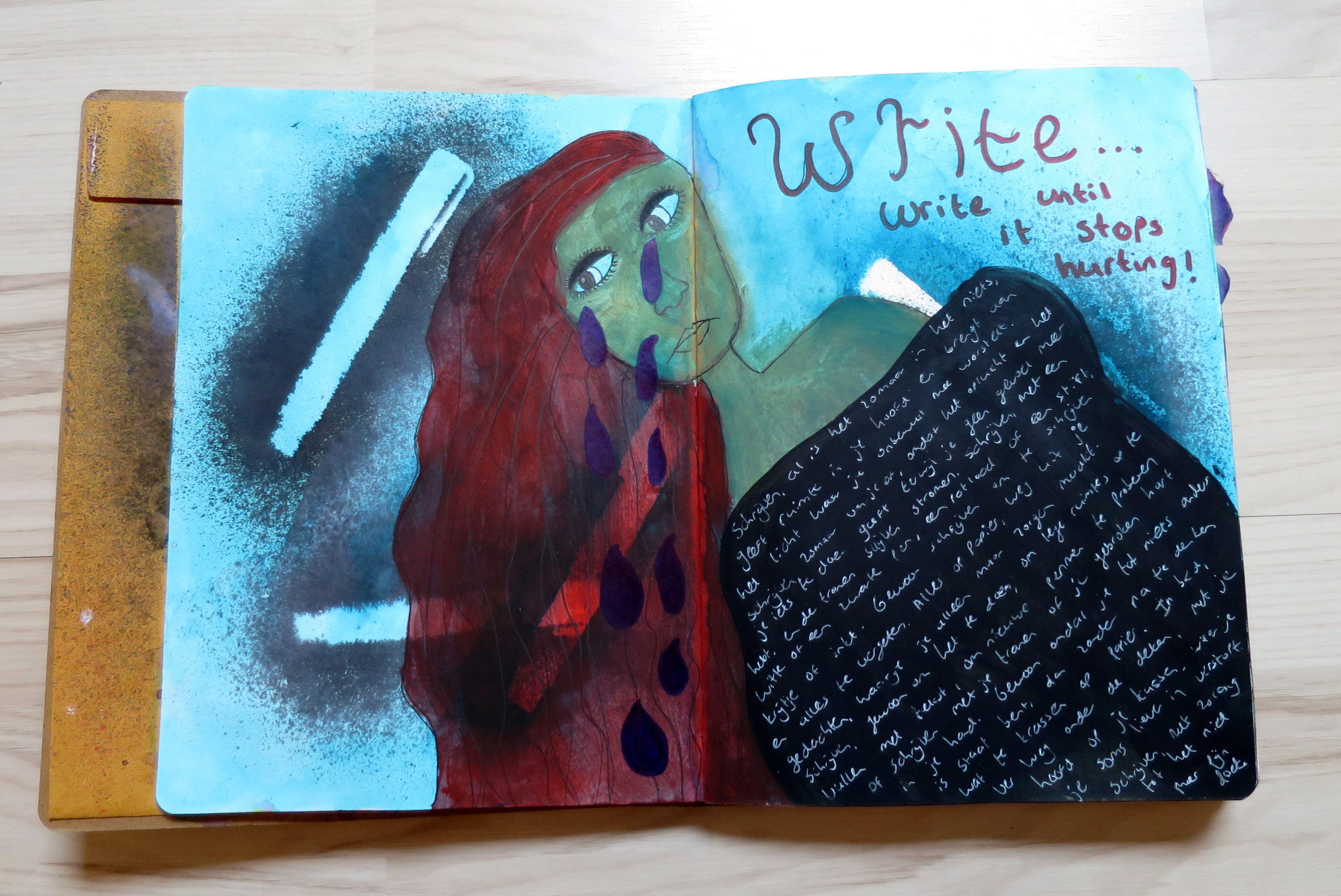   Art journal – Write until it stops hurting   http://memoryloon.nl