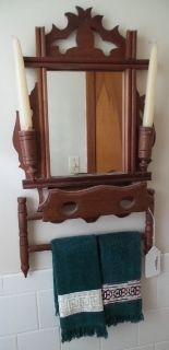 Lot 10718 WALL MIRROR, WITH CANDLE HOLDERS, SMALL SHELF AND TOWEL BAR.  RVAAuctionsOnline.com