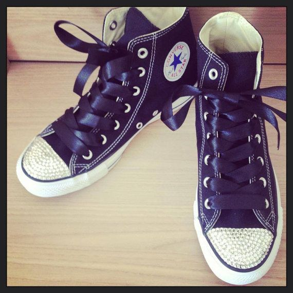 07245c86079079 Black Converse High Tops with Swarovski Crystal Toes The highest quality  materials are used in making these sparkly Converse. Each crystal is placed  ...