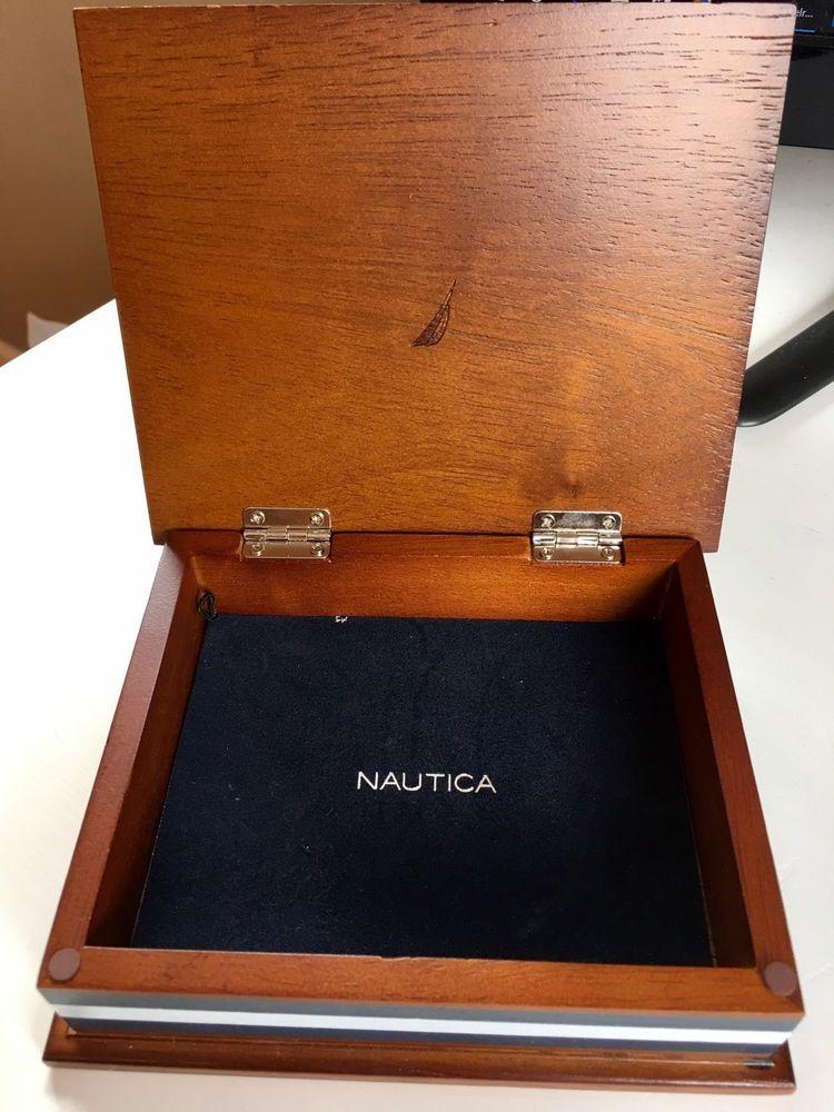 Nautica brown wooden box Dark blue velvet lining PasscaseTrinket