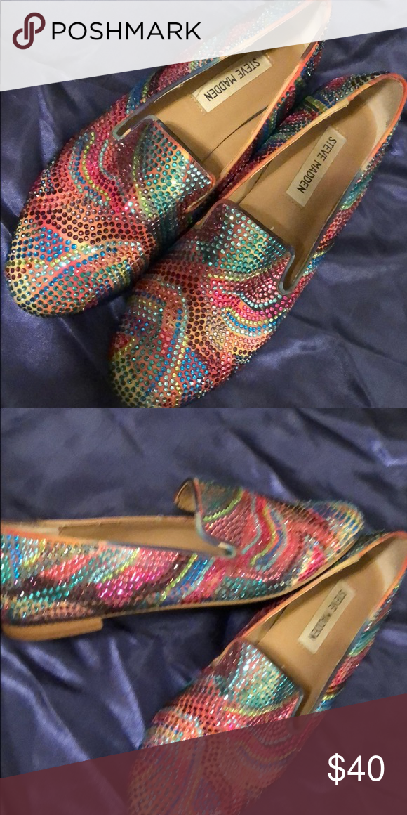 9203848a3d68 Rainbow 🌈 Bling 💎Steve Madden flats These flashy loafers🌟are sure to get  you noticed!! What doll doesn t like a little color here and there !