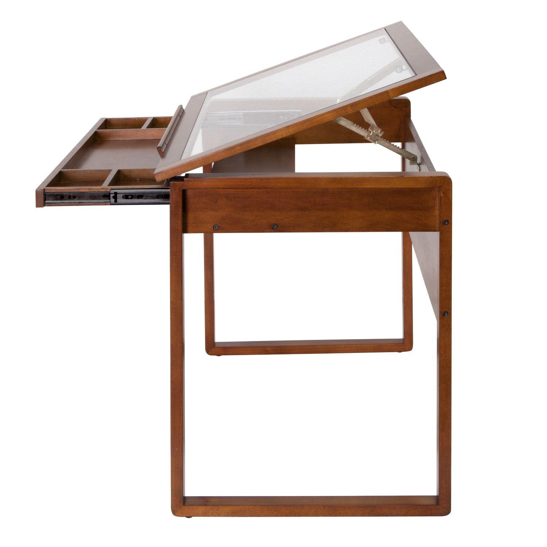 Ponderosa Height Adjustable Drafting Table Wood Drafting Table Glass Top Table Drafting Table