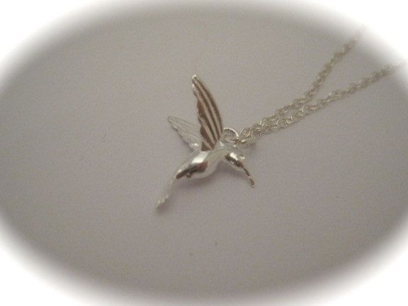 Sterling Silver Hummingbird Charm Necklace with a message by CharmedbySilver on Etsy