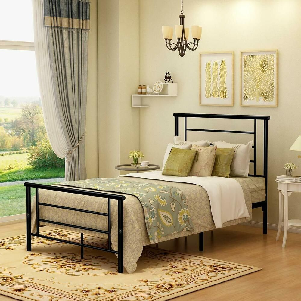 Metal Bed Frame Platform with Headboard and Footboard