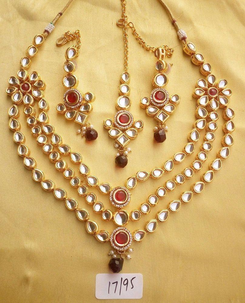 Kundan Necklace Set Gold Red Cz Stone Haar Indian Fashion Designer