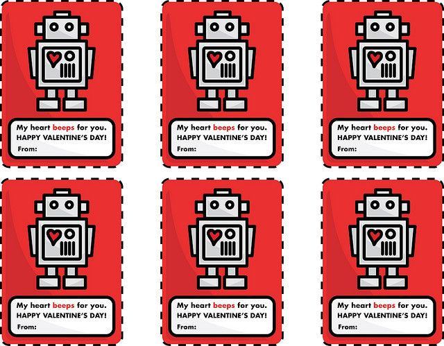 Robot Valentines For You Valentine S Cards For Kids Valentines