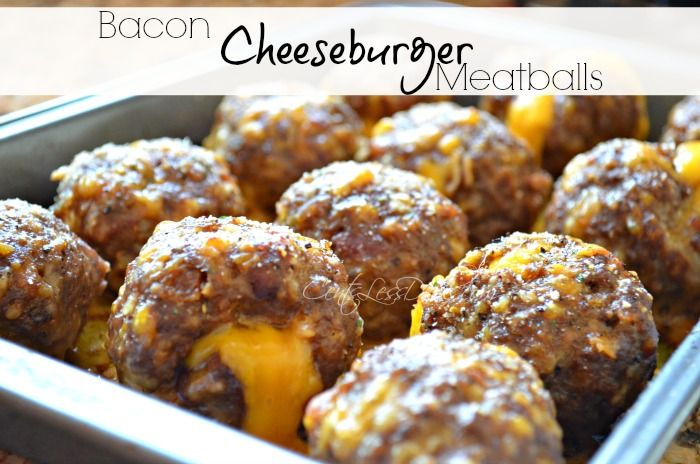 Bacon Cheeseburger Meatballs recipe. OMG get in my face! I followed the tip in the recipe and added a splash of pickle juice, my family DEVOURED these!! They seriously taste like a burger!!! DELISH!