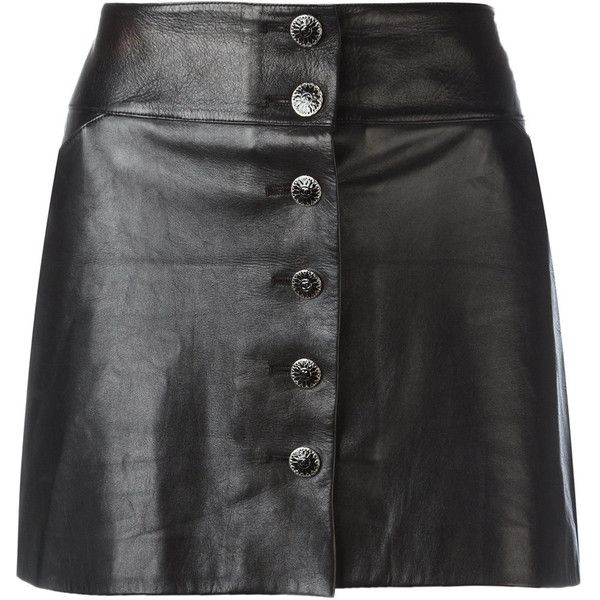 Chanel Vintage Leather Mini Skirt (€1.245) ❤ liked on Polyvore featuring skirts, mini skirts, bottoms, saias, short skirts, button front skirt, mini skirt, chanel and leather miniskirt
