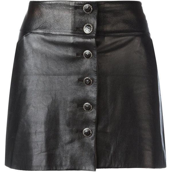 Vintage black leather mini skirt