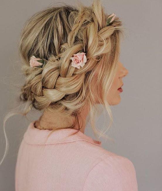 Big braid hairstyle, braided updo