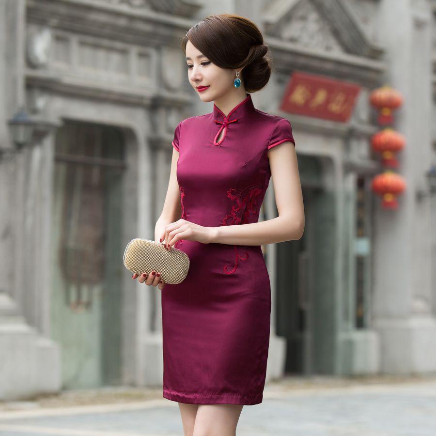 Cheongsam cotton tea length dresses ichinesedress