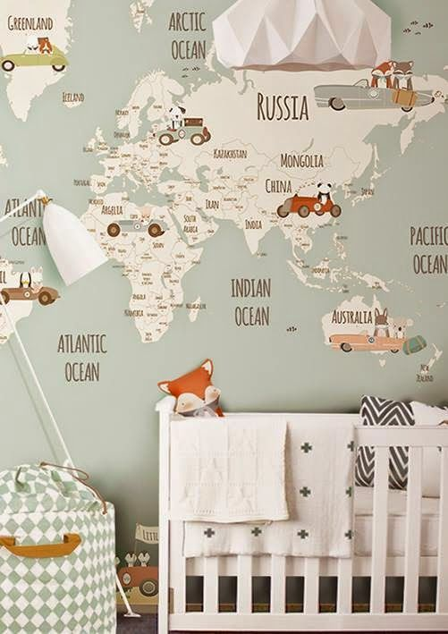 Retro Cool Travel Theme Wallpaper Mural In This Baby Nursery Unique Ideas Children S Room Decor Little Hands