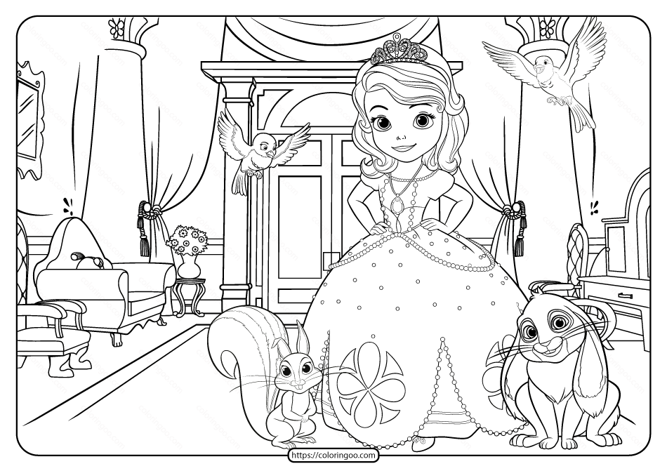 Printable Disney Sofia The First Pdf Coloring Page In 2020 Coloring Pages Santa Coloring Pages Fall Coloring Pages