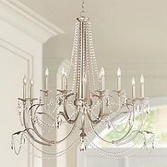 Strand 46 wide silver leaf 12 light chandelier decor strand 46 wide silver leaf 12 light chandelier aloadofball Gallery