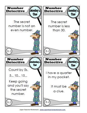 Number Detective Super Teacher Worksheets Math Learning Center Math Activities