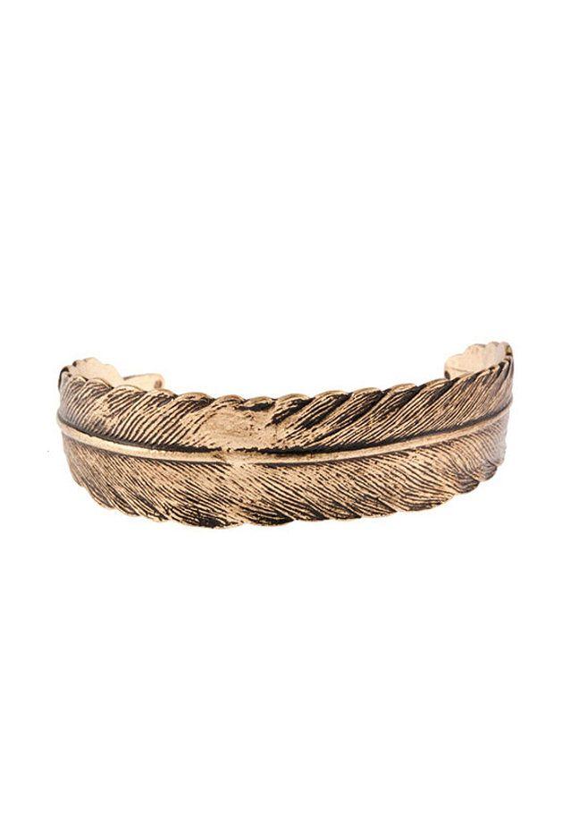 MINT Feather Cuff Bracelet antique gold #planetsports