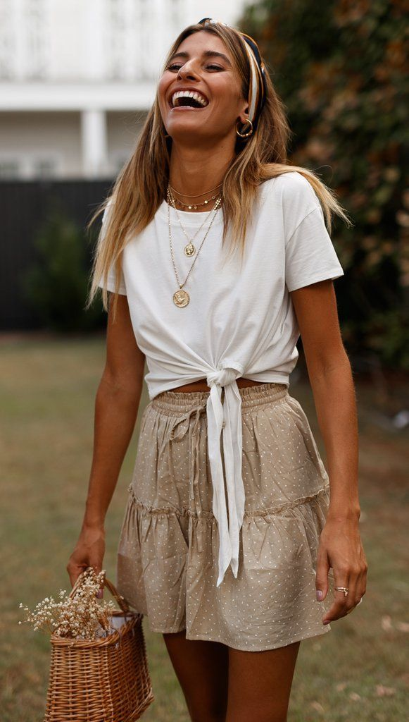White Waist-Tie Cropped Tee #summerwardrobe