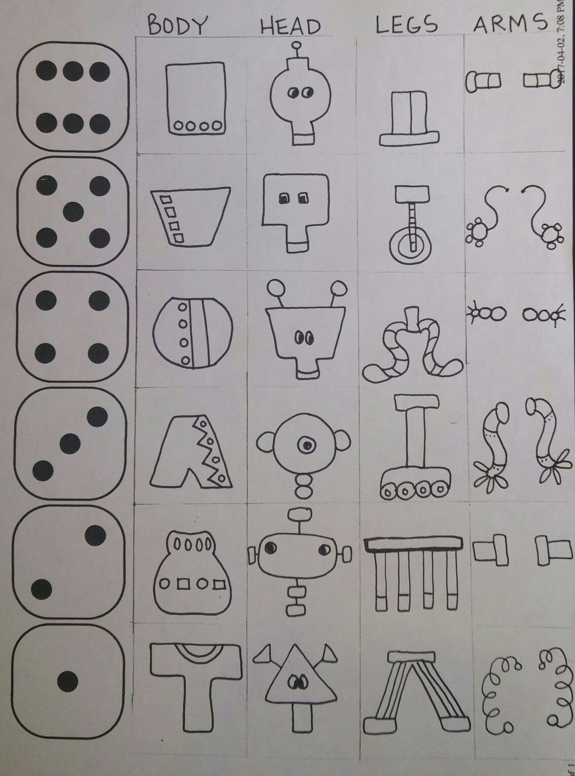 Roll A Robot Drawing Worksheet