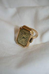 Rare Antique 18 ct Gold Ladies Ring Watch