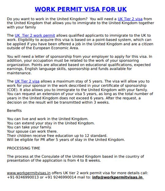 Work Permit Visa For Uk Uk Tier 2 General Visa For Process For Indians Visa Permit Work Visa