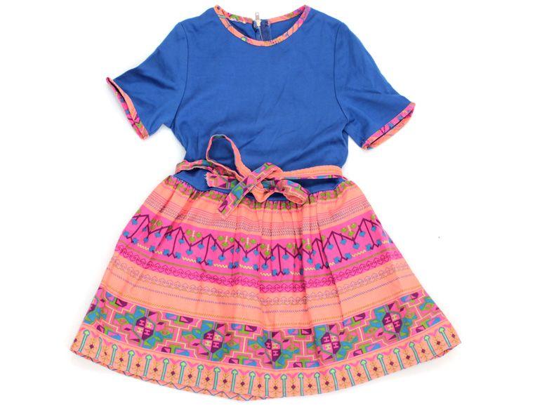 Knallig buntes, schönes handmade Kleid in Gr. 92 für modebewusste Mädchen.