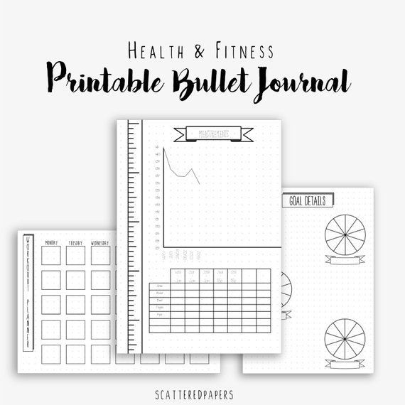 Bullet Journal - Health and Fitness - Planner - Dotted Grid - BUJO - Bullet Journal Pages - Printabl...