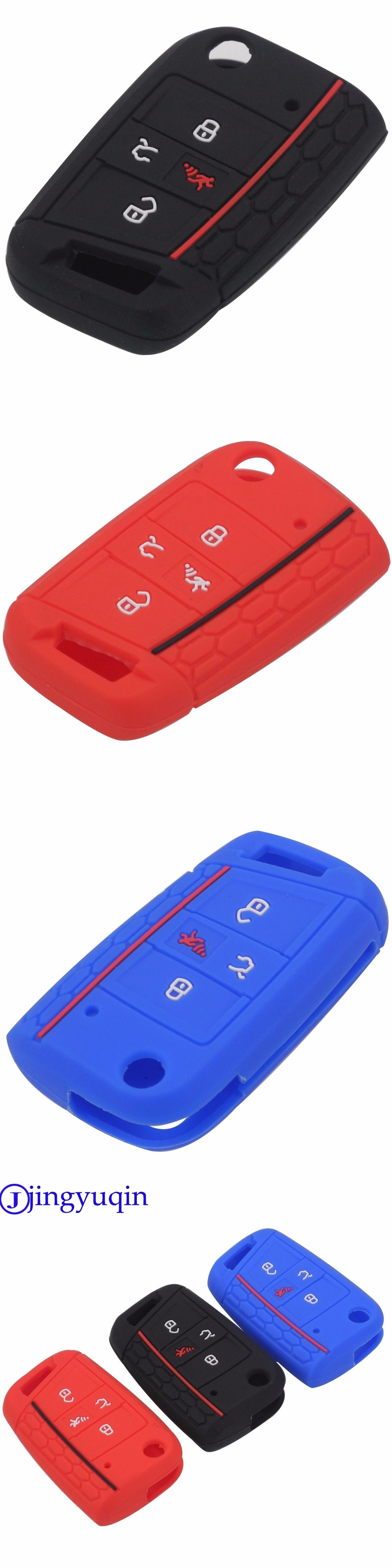 jingyuqin 4 Buttons Flid Key Silicone Fob Cover Case Skin For VW ...
