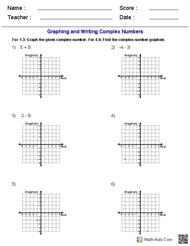 Graphing Complex Numbers Worksheets Quadratics Pinterest