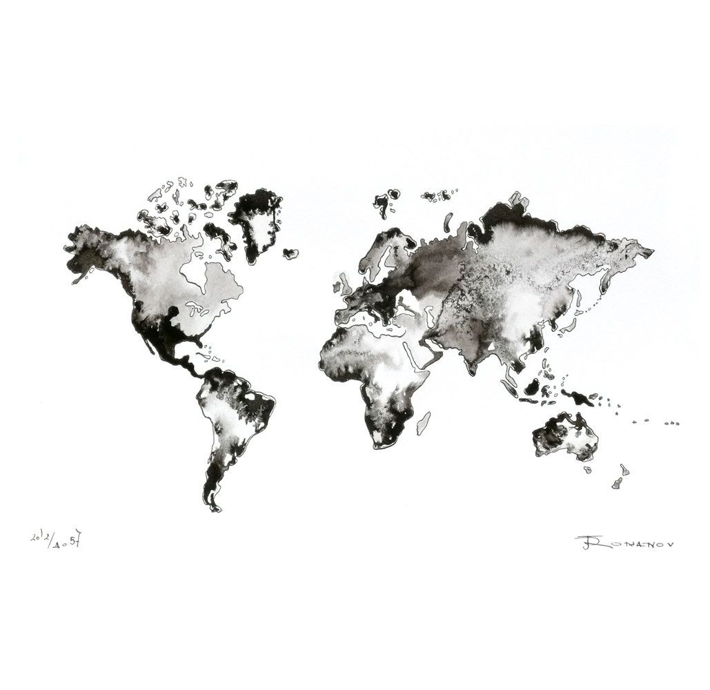 World map original painting watercolor ink artwork fine art world map original painting watercolor ink artwork fine art contemporary abstract black white wall decor modern gumiabroncs Images