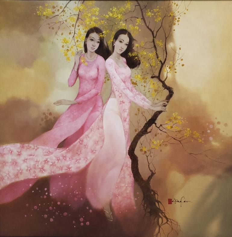 Original Women Painting By Dang Can Modern Art On Canvas Colors Of Spring Sac Xuan Painting Woman Painting Art