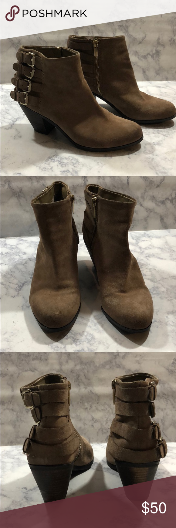 eb46c72b98f703 Sam Edelman • Lucca Suede Buckle Bootie Sam Edelman • Lucca Suede Buckle  Bootie Round toe - Suede leather construction - Topstitched detail -  Adjustable ...