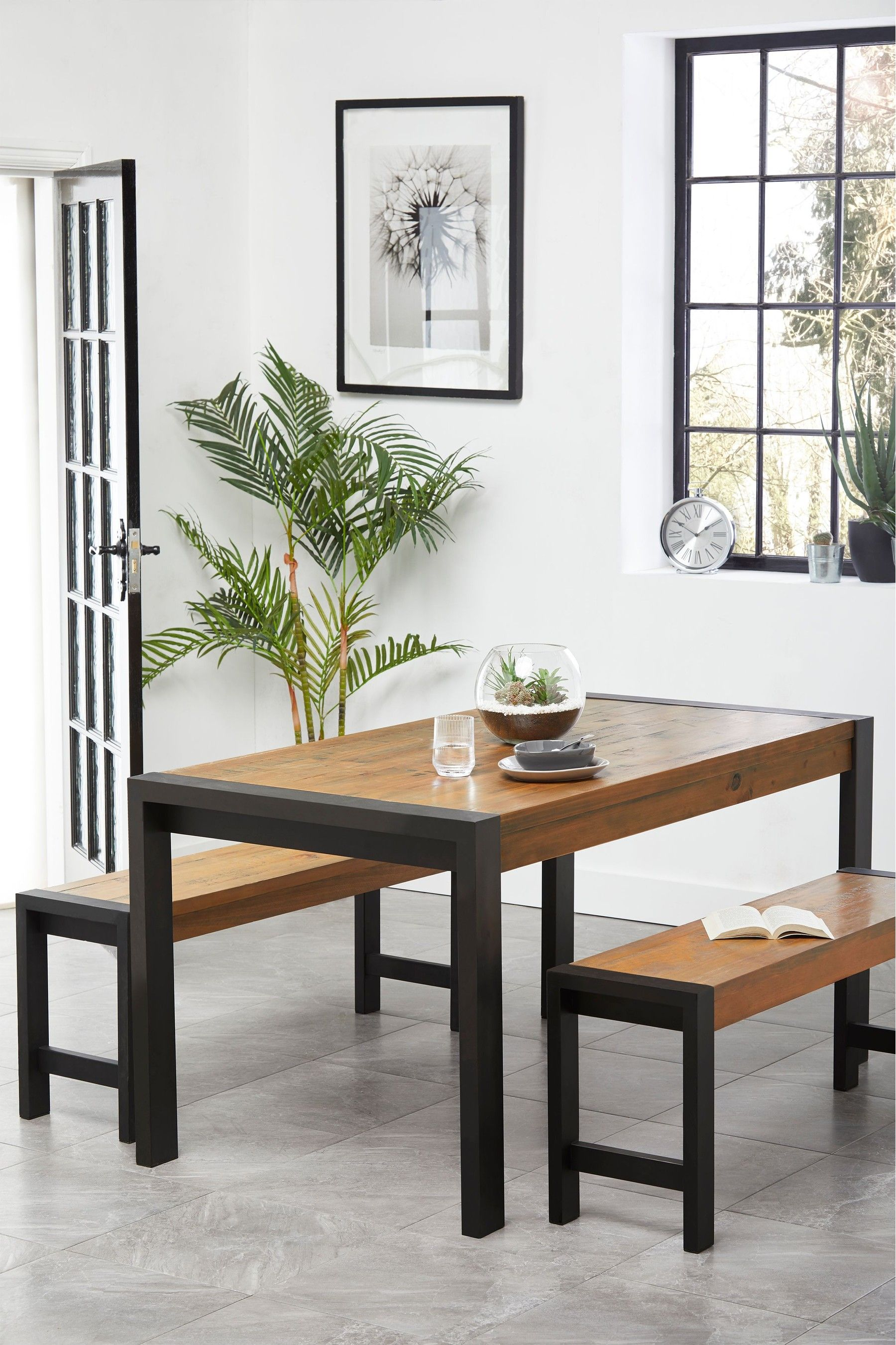 Next Hudson Dining Table And Bench Set Brown Dining Room Bench