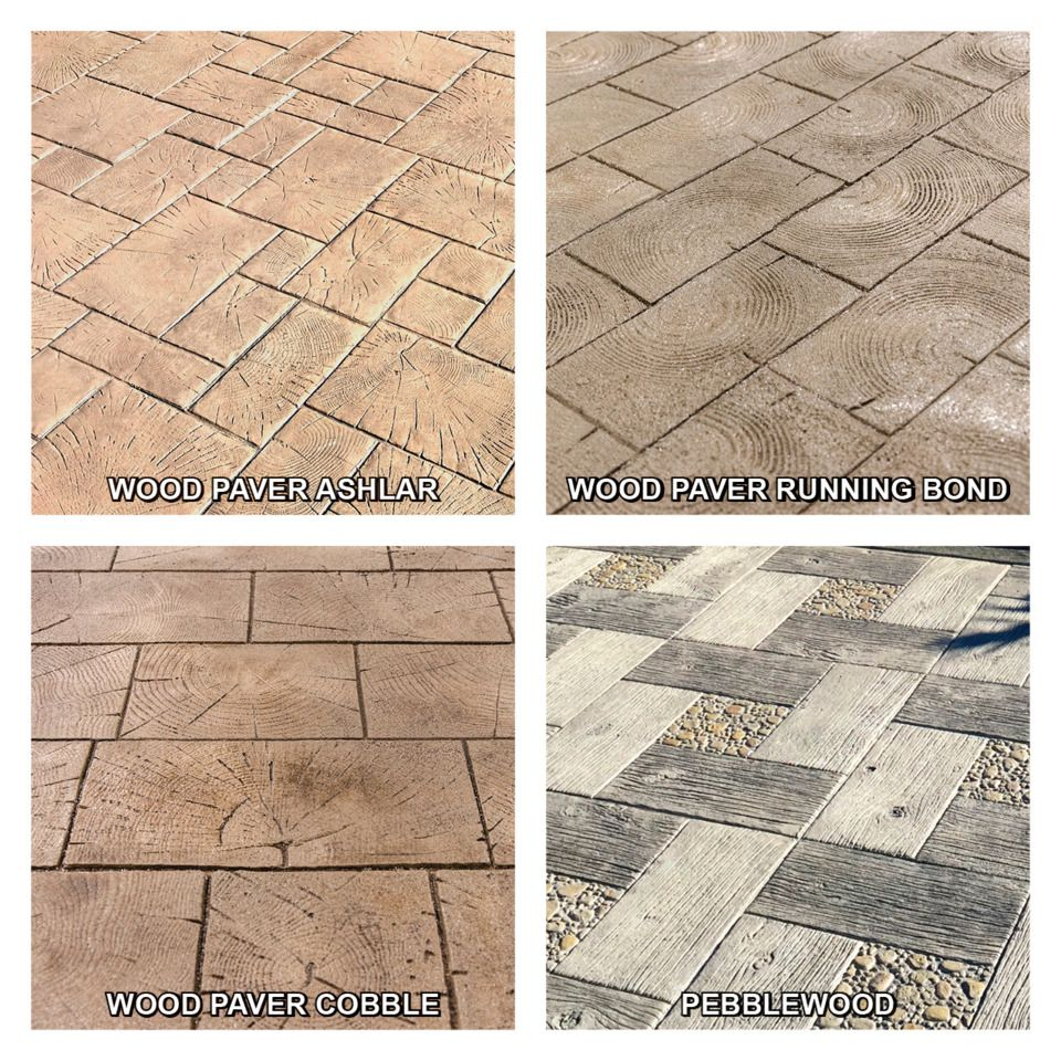 These patterns are expertly fashioned from pieces of worn wood plank and end grain pavers arranged in a variety of patterns from Running Bond to Ashlar to Basket Weave.