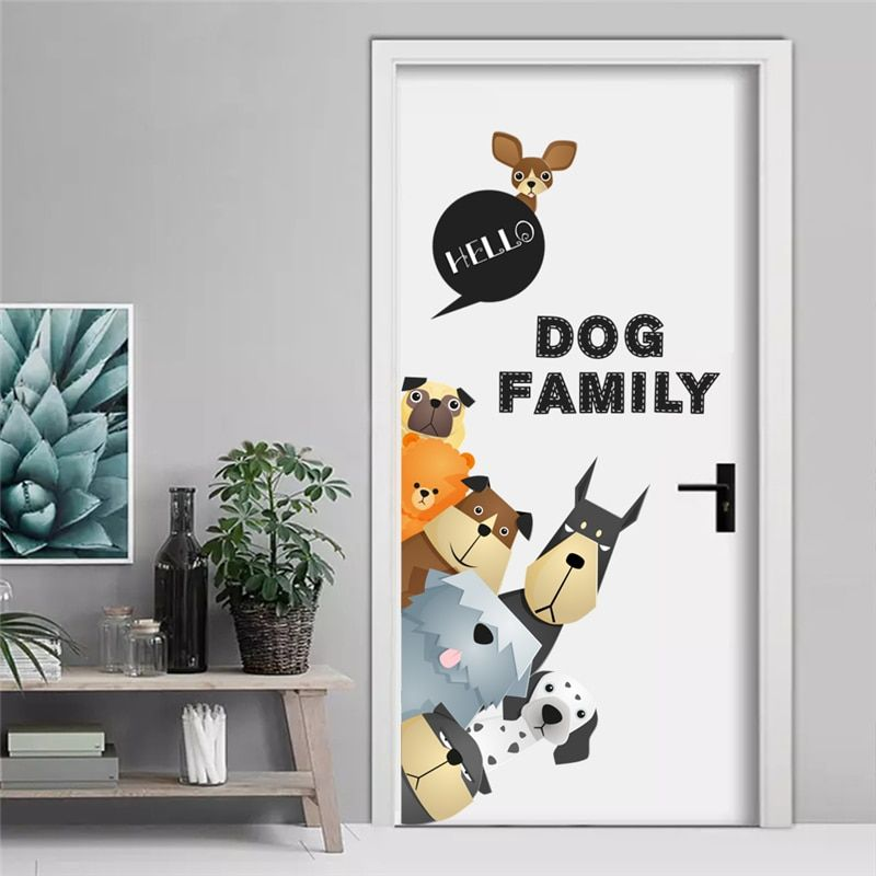 Toilettage pour Chien salon Animaux Design Chambre Home Wall Decor Art Autocollant Noir