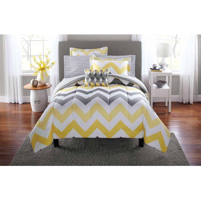 6 Piece Girls Yellow Grey Chevron Stripes Pattern Comforter Twin Set Beautiful Stylish Geometric Zig Zag Horizontal Stripe Print Stripe Ins Grey Bedroom Design