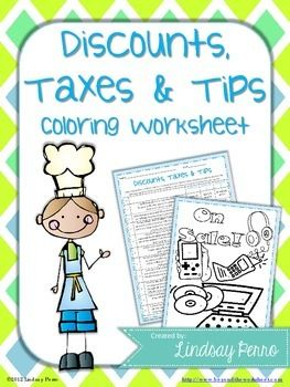 Percent Discount Taxes And Tips Coloring Worksheet Tpt Math