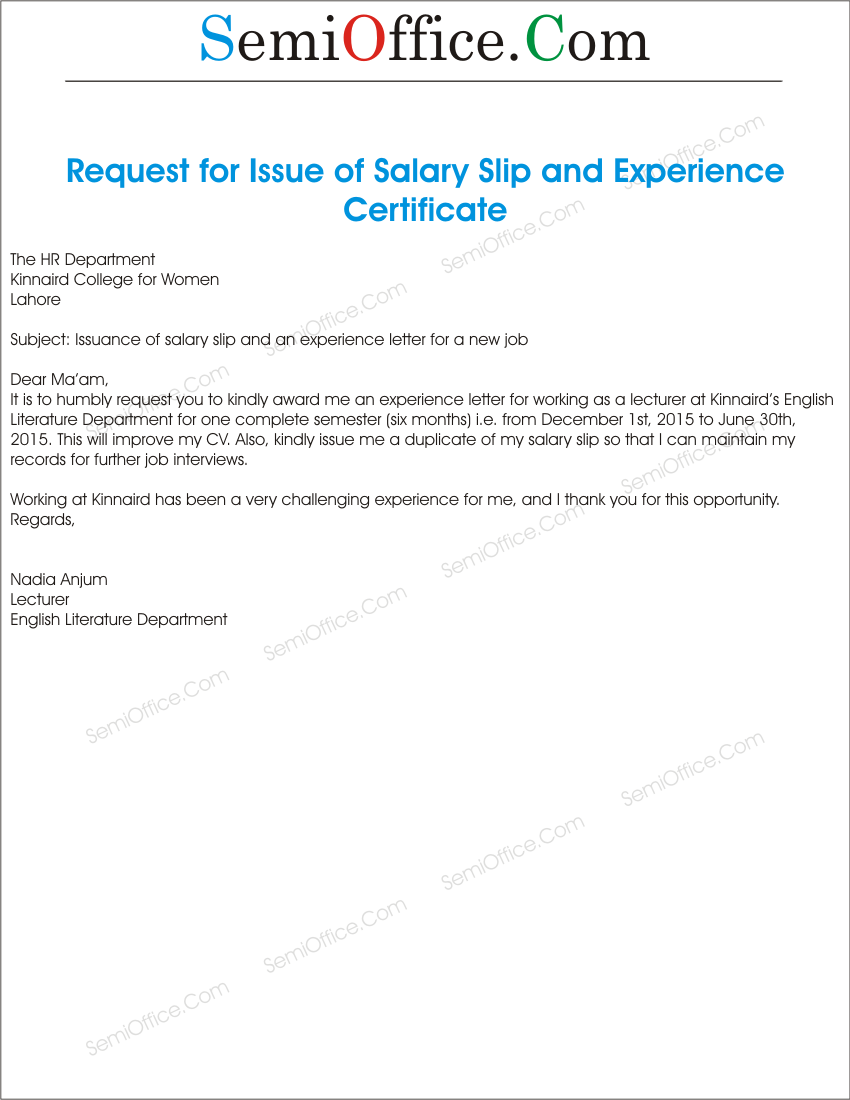 Salary Certificate Request Letter Format Certification Verification