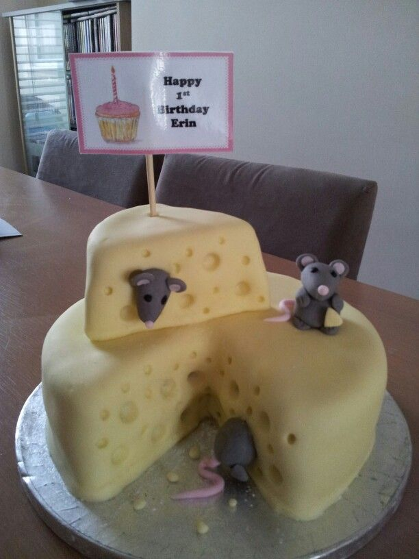 Mouse cheese birthday cake cakes Pinterest Birthday cakes