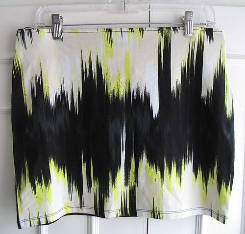 Abstract Print Black/White/Green/Cream Tube Bodycon Skirt