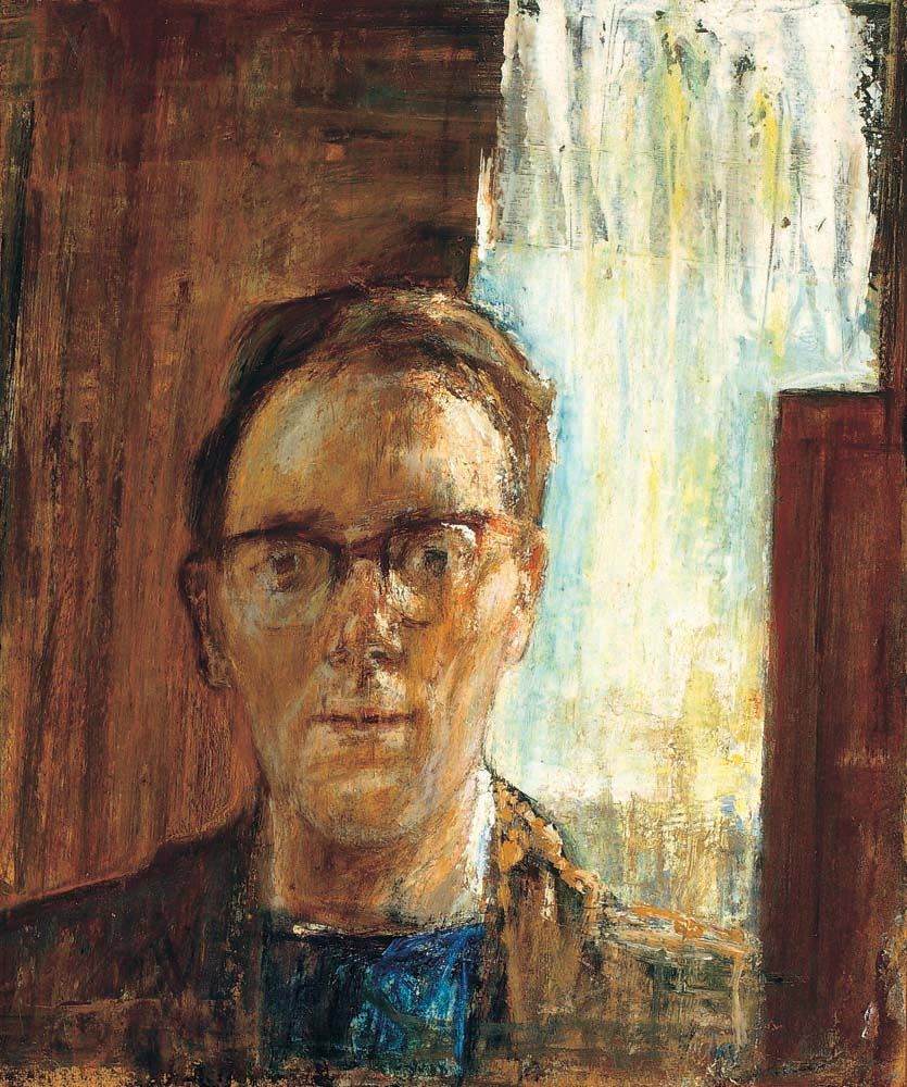 Albert Herbert, Self Portrait, c.1959, Oil on board, 51x42 cm | The Ruth Borchard Collection