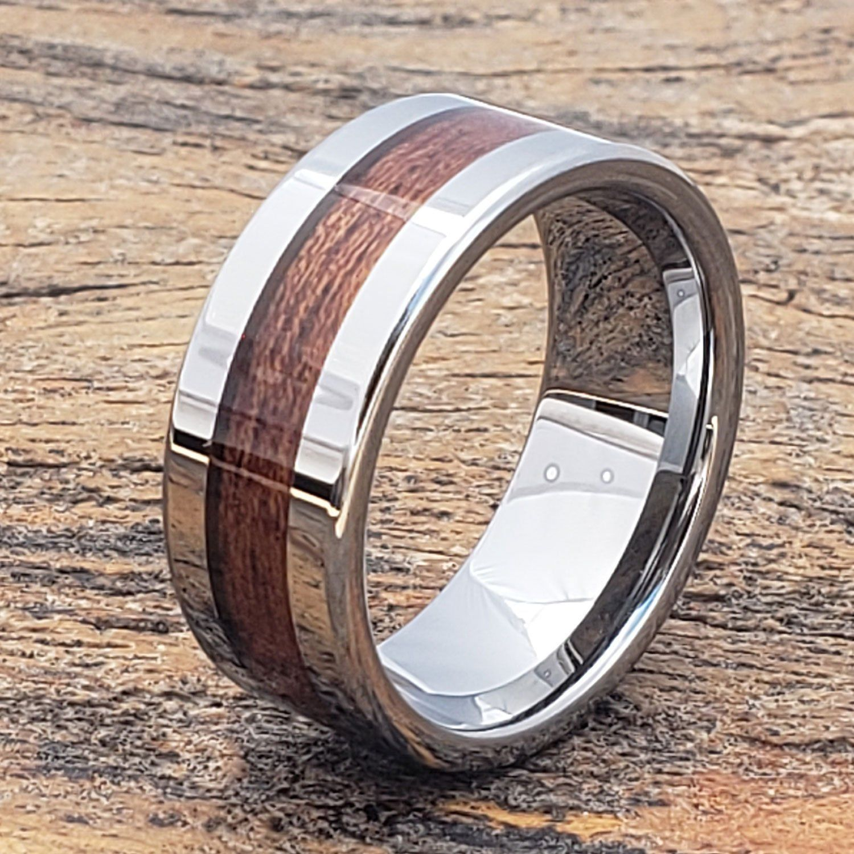 Men Tungsten Wood Ring, Wood Wedding Band, Tungsten Band