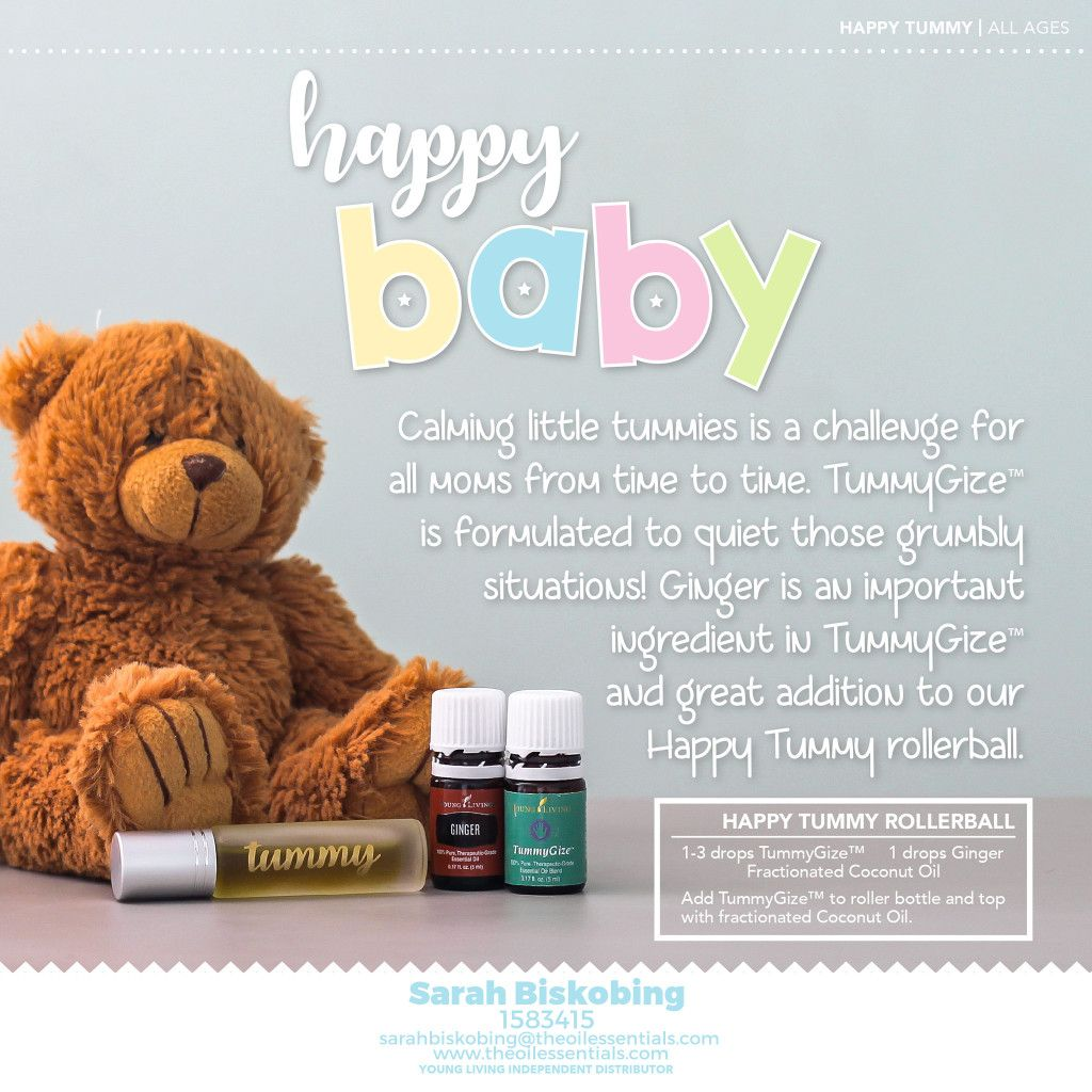 Calming a baby's tummy can be challenging at times. Ginger and KidScents TummyGize essential oil can really help.