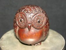 Refined Wooden Boxwood Netsuke cute owl figurine