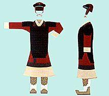 Vestimente de Guerrero de la Etnía Han, constituida por prendras en su mayor parte de colores cálidos que connotan violencia y fuerza en contra del enemigo.