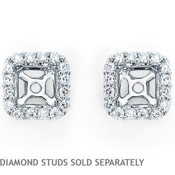 Square Earring Jackets Fit 0 50 Ctw 70 Princess Cut Studs 14kt White
