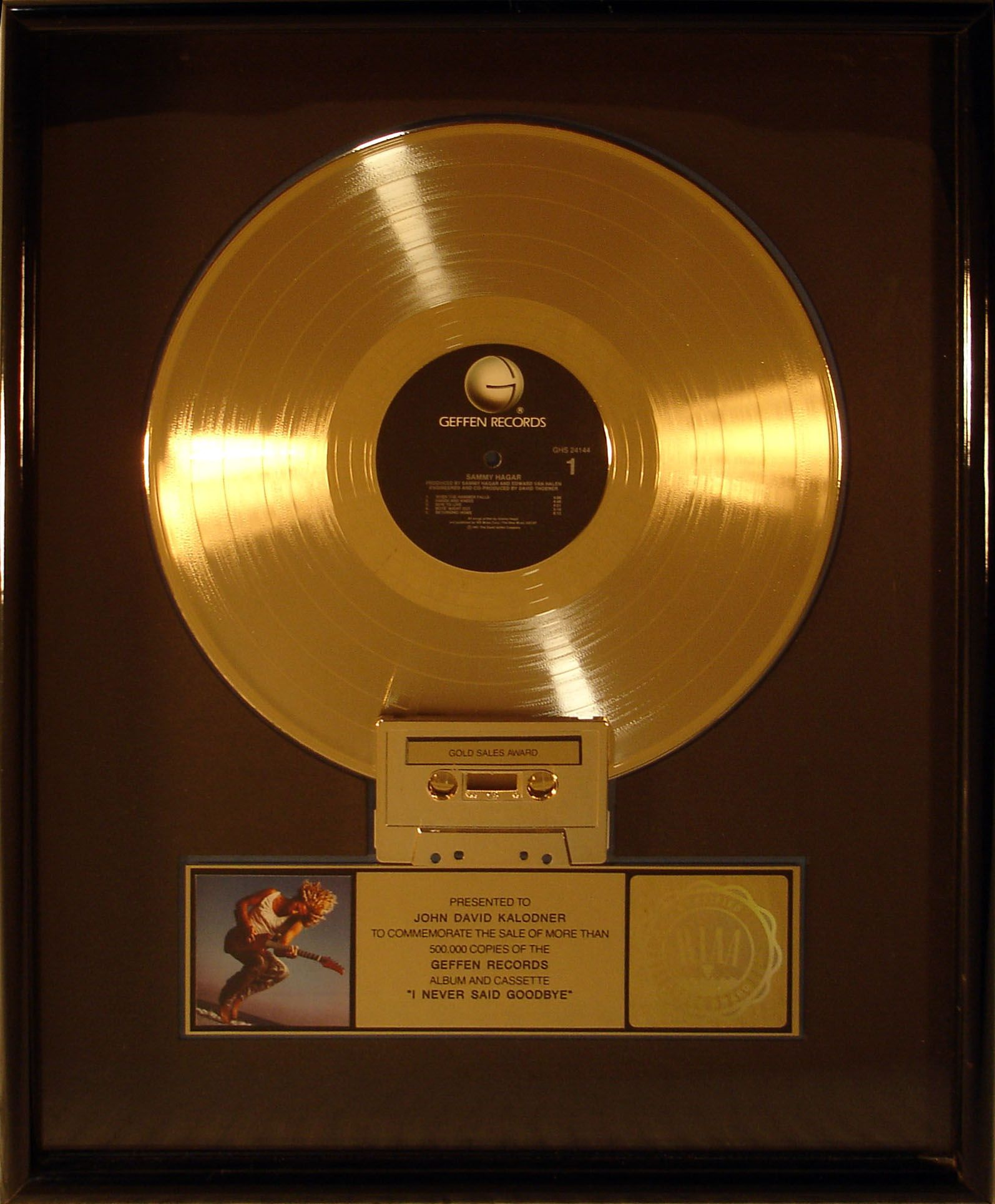 Gold Record Award Presented To Jdk For Sammy Hagar S Album I Never Said Goodbye Reo Speedwagon Records Recording Artists