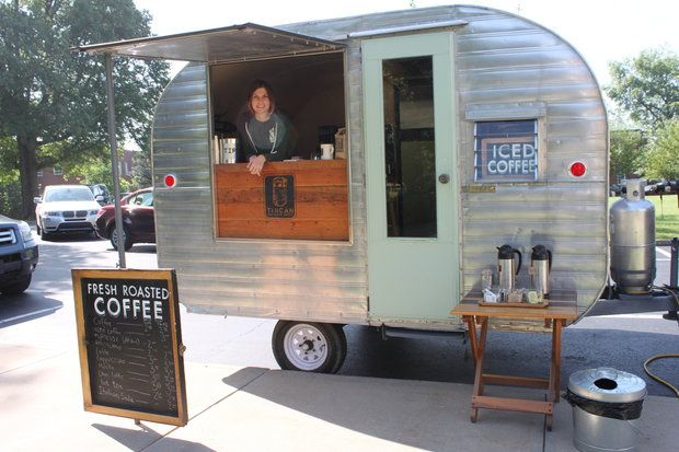 Rachel Moser Sells Her Roasted Tincan Coffee Out Of A Canned Ham 1957 Garway Travel Trailer That She And Her Bo Food Truck Food Truck For Sale Coffee Trailer