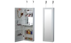 Over-the-Door Beauty Armoire w/ Full-Length Mirror: White ...
