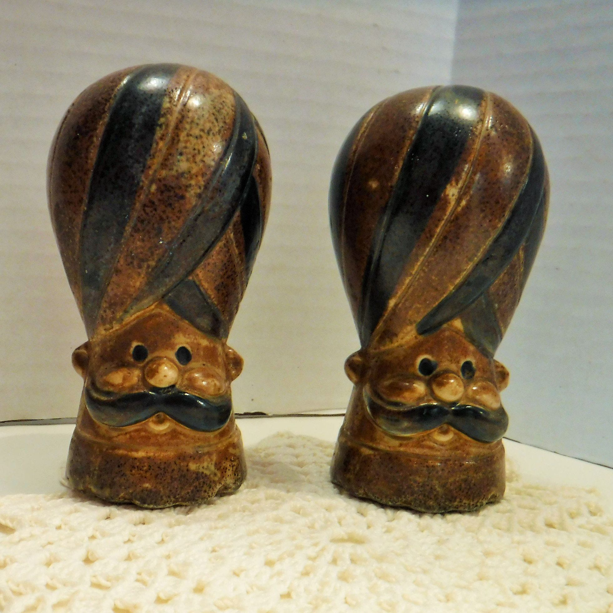 Turban Men Salt and Pepper Shakers Vintage Men Unique Salt and