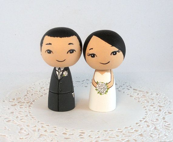 Asian Bride And Groom Wedding Cake Toppers By Licoricewits On Etsy 5600